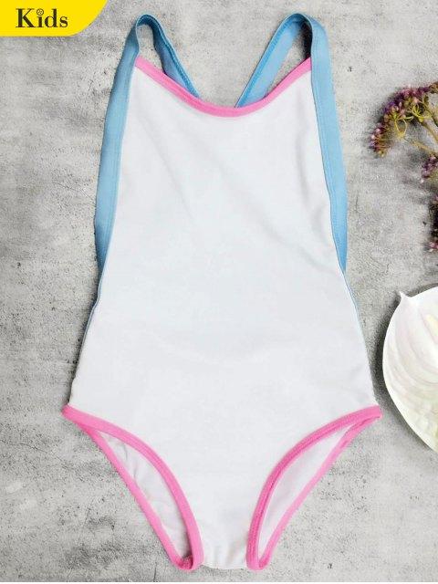 fashion Open Back Tricolor Girls One Piece Swimwear - WHITE 3T Mobile