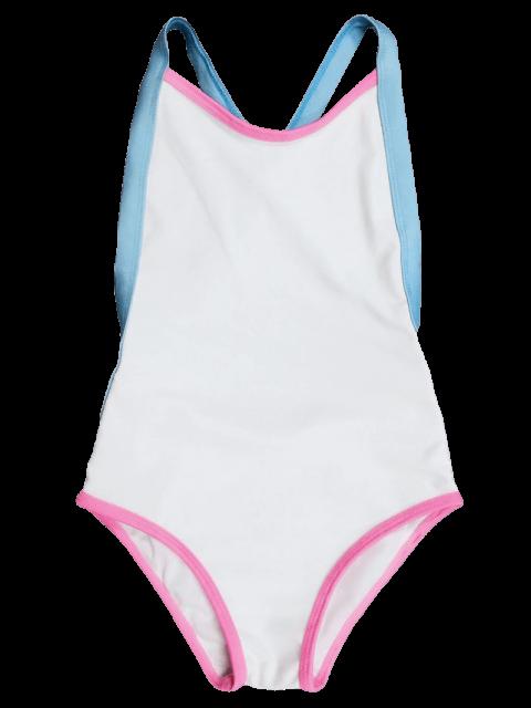 chic Open Back Tricolor Girls One Piece Swimwear - WHITE 4T Mobile
