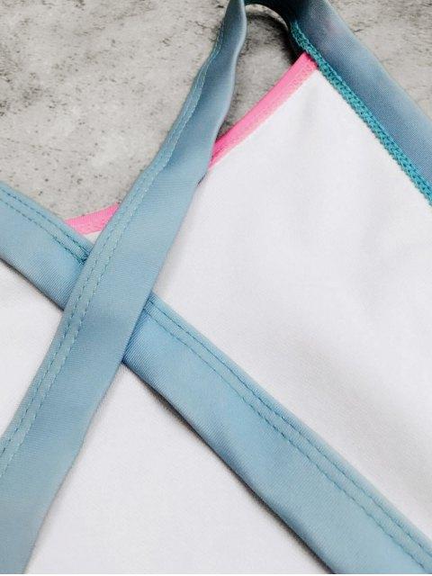 fancy Open Back Tricolor Girls One Piece Swimwear - WHITE 5T Mobile