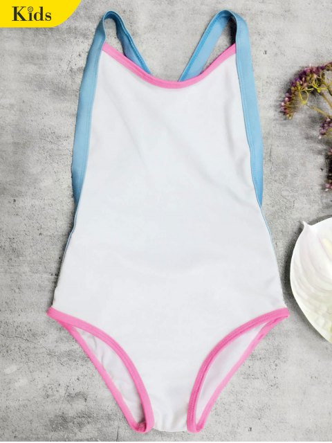 unique Open Back Tricolor Girls One Piece Swimwear - WHITE 6T Mobile