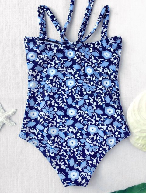affordable Tiny Floral Cutout Bowknot Swimwear - FLORAL 8T Mobile