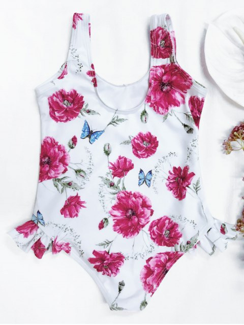 womens Scoop Floral Ruffled Kid Swimsuit - WHITE 5T Mobile