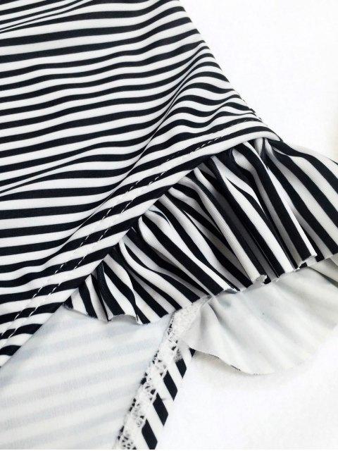 ladies Back Low Cut Striped Ruffled Kid Swimsuit - STRIPE 4T Mobile