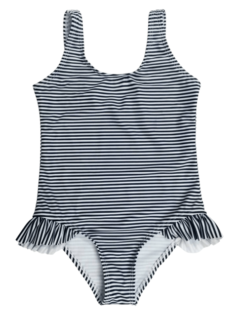 lady Back Low Cut Striped Ruffled Kid Swimsuit - STRIPE 5T Mobile