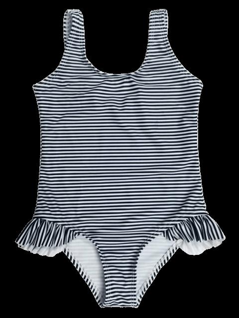 online Back Low Cut Striped Ruffled Kid Swimsuit - STRIPE 7T Mobile