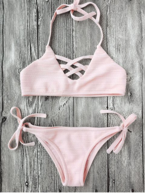 hot Strappy Ribbed Texture String Bikini - SHALLOW PINK 5T Mobile