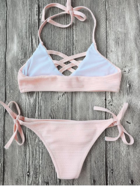 outfits Strappy Ribbed Texture String Bikini - SHALLOW PINK 7T Mobile