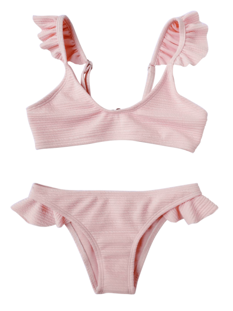 trendy Scoop Ribbed Texture Frilled Bikini - SHALLOW PINK 6T Mobile