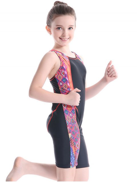 fashion Printed Back Cut Snorkeling Swimwear - BLACK 6T Mobile