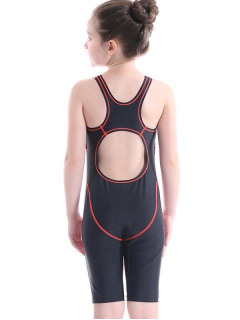 chic Printed Back Cut Snorkeling Swimwear - BLACK 7T Mobile