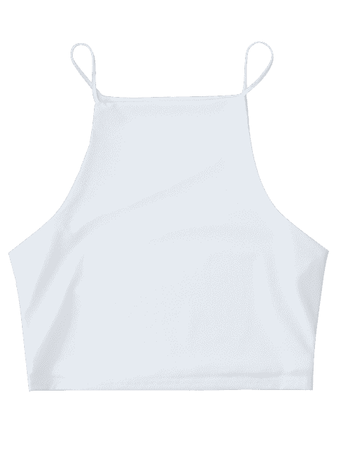online Cropped Dropped Armhole Cami Top - WHITE S Mobile