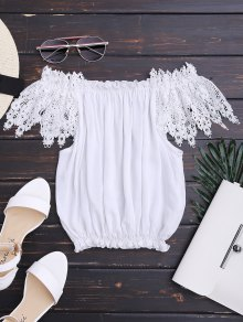 Lace Insert Ruffles Off shoulder Top