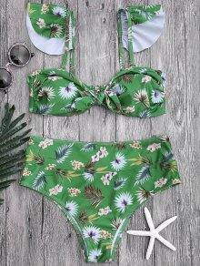 Floral Print Knotted High Waisted Bikini Set