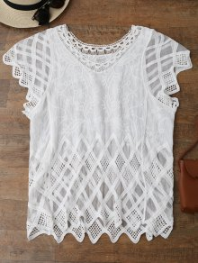 Geometric Embroidered Crochet Panel Cover Up