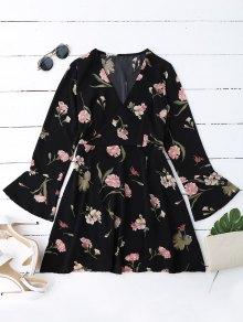 Vestido Floral Surplice Con Manga Bell - Negro L