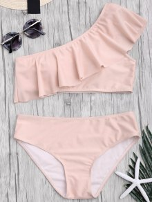 Padded Ruffle One Shoulder Bikini Set