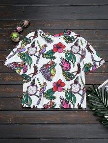 Oversized Bird Floral Top
