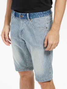 Zip Fly Vertical Stripe Denim Shorts