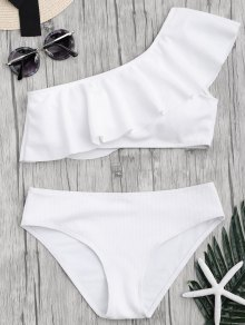 Textured Ruffle One Shoulder Bikini Set