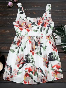 Back Zipper Straps Floral Mini Dress