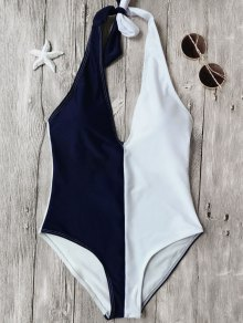 Color Block Halterneck One Piece Swimsuit - Blue And White L