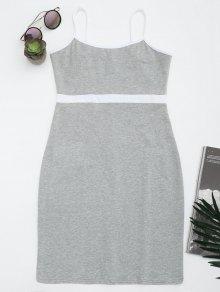 Dos Tonos Bodycon Slip Mini Vestido - Gris M