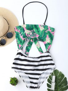 Palm Striped Cut Out Backless Halter Swimwear