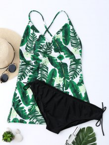 Backless Plus Size Palm Leaf Print Tankini - Xl