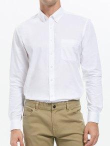 زر أسفل قميص الجيب الأعمال - أبيض L