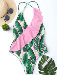 One Piece Ruffles Backless Palm Leaf Swimwear