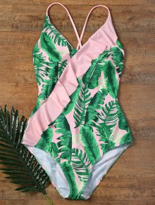 Ruffles One Piece Palm Leaf Backless Swimsuit