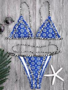 Floral Print Tanga String Bikini Set - Blue M
