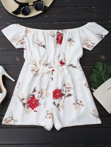 Off The Shoulder Floral Drawstring Playsuit