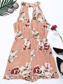 High Neck Floral Print Ruffled Romper