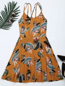 Leaves Print Open Back Criss Cross Dress