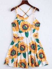 Sunflower Print Open Back Cami Sundress