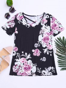 Criss Cross Floral Print V Neck Tee