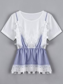 Lace Panel Faux Twin Set Striped Tee