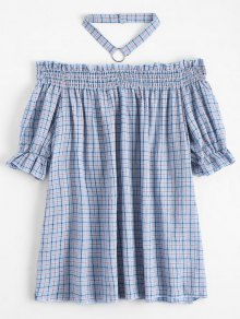 Ruffled Checked Blouse With Chocker - Checked Xl