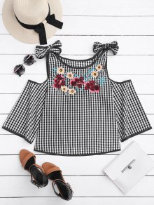 Floral Embroidered Gingham Cold Shoulder Top - Checked M