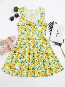 Vestido Sin Mangas Sin Mangas De Impresión De Limón - Amarillo L