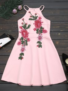 Floral Patched Cami Flare Dress - Pink M