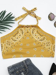 Printed Halter Neck Crop Top - Yellow S