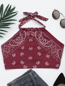 Printed Halter Neck Crop Top - Wine Red S