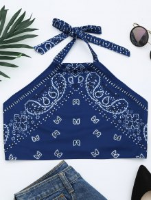 Printed Halter Neck Crop Top - Blue M