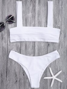 Bandeau Padded Bikini Top And Bottoms - White S