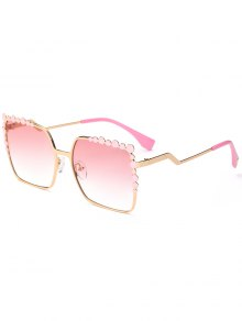 Rectangle UV Protection Polka Dot Embellished Sunglasses - Light Pink