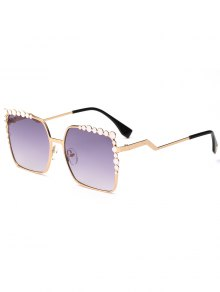 Gafas De Sol Rectangle UV Protection Polka Dot Embellished - Púrpura