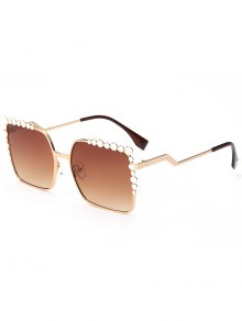Rectangle UV Protection Polka Dot Embellished Sunglasses - Tea-colored