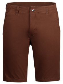 Casual Zip Fly Plain Chino Shorts